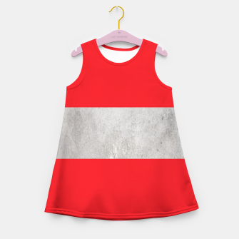 Thumbnail image of Gray textured stripe on red Girl's summer dress, Live Heroes
