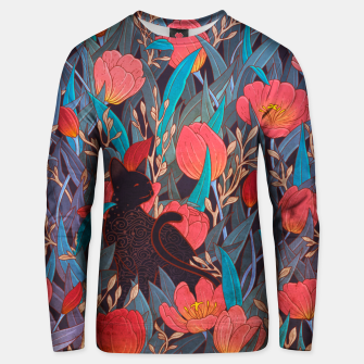 Thumbnail image of Black cat and tulips Unisex sweater, Live Heroes