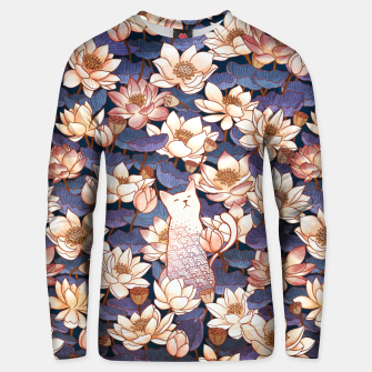 Thumbnail image of White cat and lotus Unisex sweater, Live Heroes