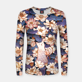 Thumbnail image of White cat and lotus Women sweater, Live Heroes