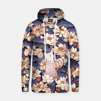 Thumbnail image of White cat and lotus Hoodie, Live Heroes