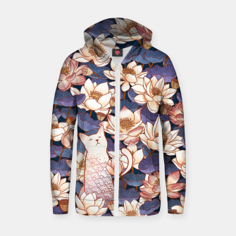 Thumbnail image of White cat and lotus Zip up hoodie, Live Heroes