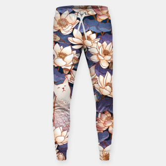 Thumbnail image of White cat and lotus Sweatpants, Live Heroes