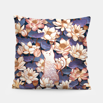 Miniaturka White cat and lotus Pillow, Live Heroes
