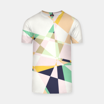 Thumbnail image of Broken moons, geometric outer space abstract illustration in soft colors T-shirt, Live Heroes