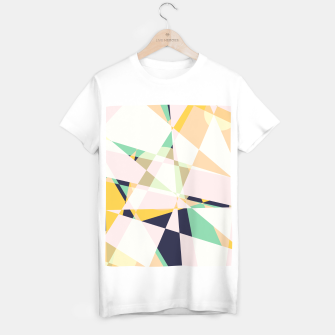 Thumbnail image of Broken moons, geometric outer space abstract illustration in soft colors T-shirt regular, Live Heroes