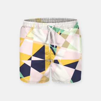 Thumbnail image of Broken moons, geometric outer space abstract illustration in soft colors Swim Shorts, Live Heroes