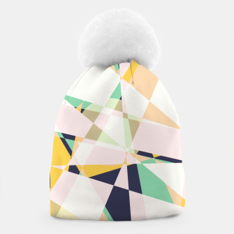 Thumbnail image of Broken moons, geometric outer space abstract illustration in soft colors Beanie, Live Heroes