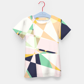 Thumbnail image of Broken moons, geometric outer space abstract illustration in soft colors Kid's t-shirt, Live Heroes