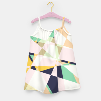 Thumbnail image of Broken moons, geometric outer space abstract illustration in soft colors Girl's dress, Live Heroes