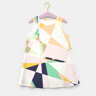 Thumbnail image of Broken moons, geometric outer space abstract illustration in soft colors Girl's summer dress, Live Heroes
