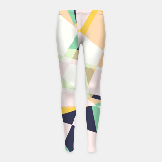 Thumbnail image of Broken moons, geometric outer space abstract illustration in soft colors Girl's leggings, Live Heroes