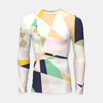 Thumbnail image of Broken moons, geometric outer space abstract illustration in soft colors Longsleeve rashguard , Live Heroes