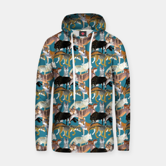 Miniaturka Wolves pattern teal color Sudadera con capucha, Live Heroes