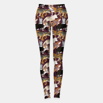 Thumbnail image of  Wolves pattern eggplant color  Leggings, Live Heroes