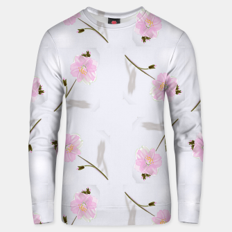 Thumbnail image of Pink flowers on gray Unisex sweater, Live Heroes