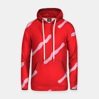 Thumbnail image of Pink snakes on red Hoodie, Live Heroes