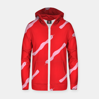 Thumbnail image of Pink snakes on red Zip up hoodie, Live Heroes