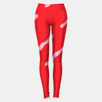 Thumbnail image of Pink snakes on red Leggings, Live Heroes
