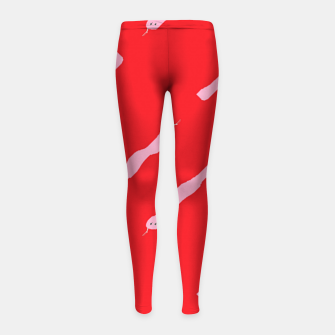 Thumbnail image of Pink snakes on red Girl's leggings, Live Heroes