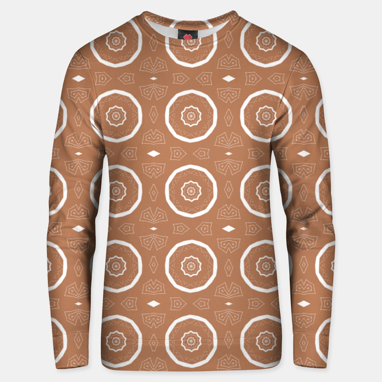 Image of Patterned circles on brown Unisex sweater - Live Heroes