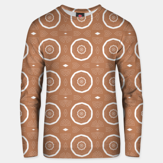 Thumbnail image of Patterned circles on brown Unisex sweater, Live Heroes