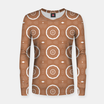 Thumbnail image of Patterned circles on brown Women sweater, Live Heroes