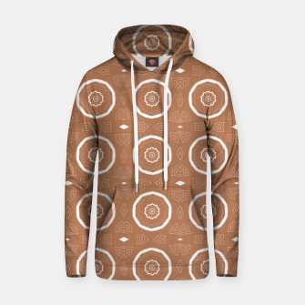 Thumbnail image of Patterned circles on brown Hoodie, Live Heroes