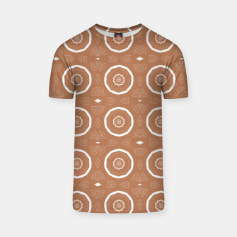Thumbnail image of Patterned circles on brown T-shirt, Live Heroes