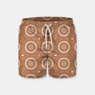 Thumbnail image of Patterned circles on brown Swim Shorts, Live Heroes
