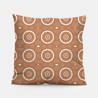 Thumbnail image of Patterned circles on brown Pillow, Live Heroes