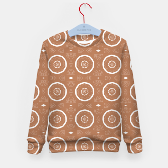 Thumbnail image of Patterned circles on brown Kid's sweater, Live Heroes