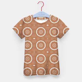 Thumbnail image of Patterned circles on brown Kid's t-shirt, Live Heroes