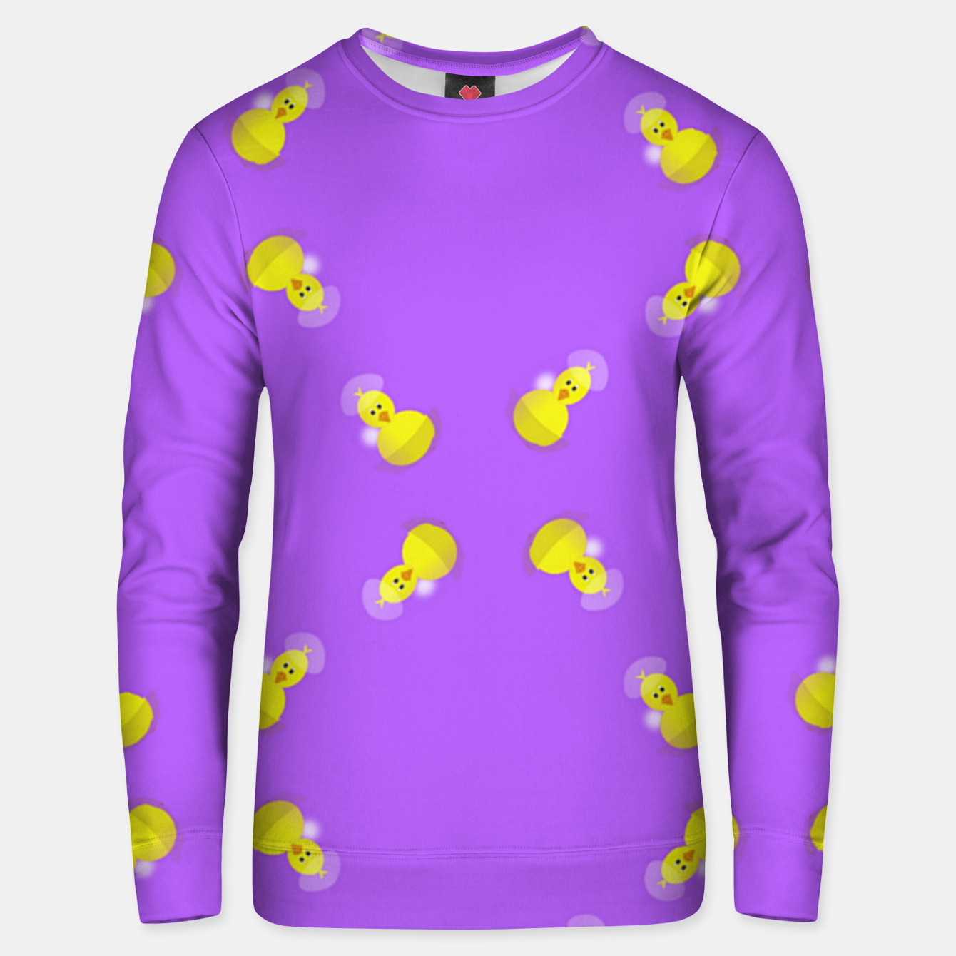 Image of Yellow chicks on purple Unisex sweater - Live Heroes