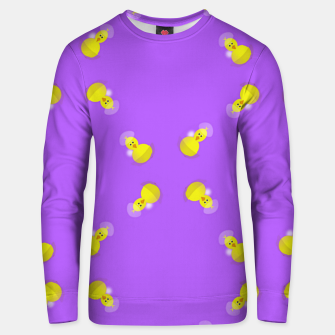 Thumbnail image of Yellow chicks on purple Unisex sweater, Live Heroes