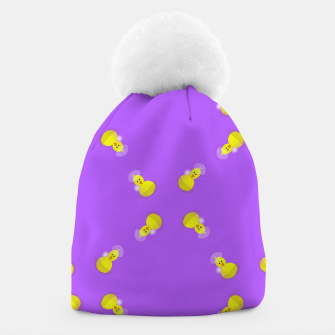 Thumbnail image of Yellow chicks on purple Beanie, Live Heroes