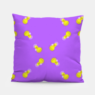 Thumbnail image of Yellow chicks on purple Pillow, Live Heroes