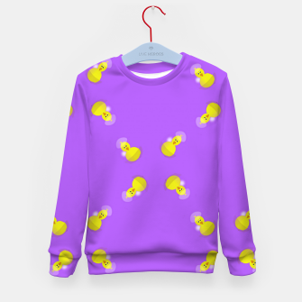 Thumbnail image of Yellow chicks on purple Kid's sweater, Live Heroes