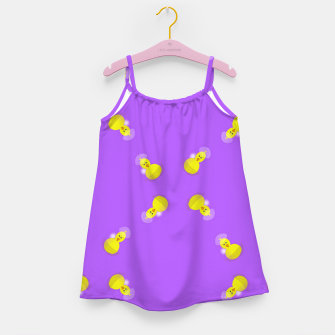 Thumbnail image of Yellow chicks on purple Girl's dress, Live Heroes