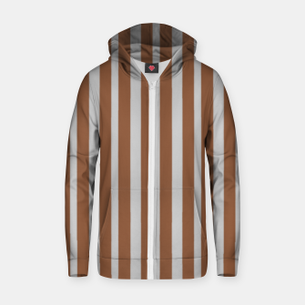 Brown and gray stripes Zip up hoodie thumbnail image