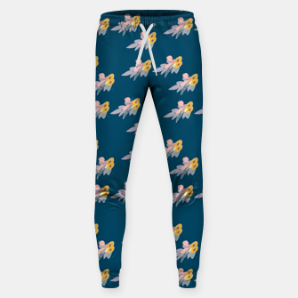 Thumbnail image of Trendy floral print on blue Sweatpants, Live Heroes