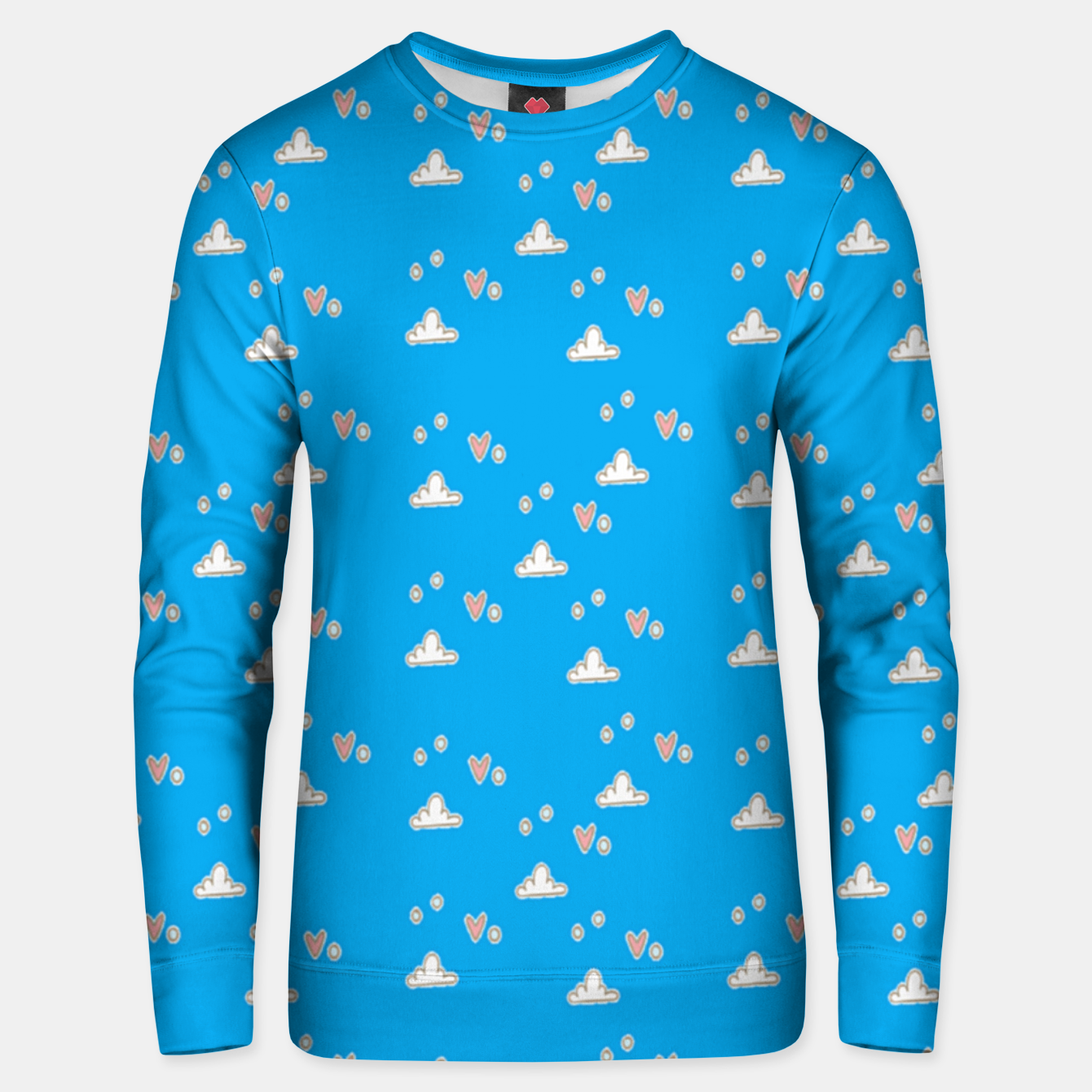 Image of Hearts and clouds blue Unisex sweater - Live Heroes