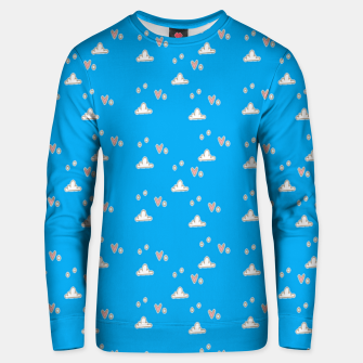Thumbnail image of Hearts and clouds blue Unisex sweater, Live Heroes
