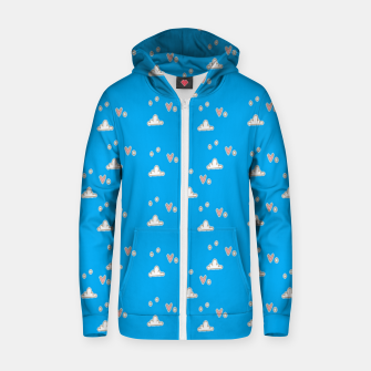 Hearts and clouds blue Zip up hoodie thumbnail image