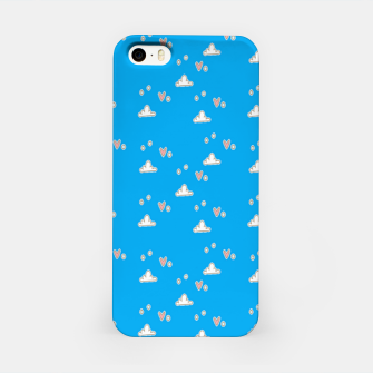 Hearts and clouds blue iPhone Case thumbnail image