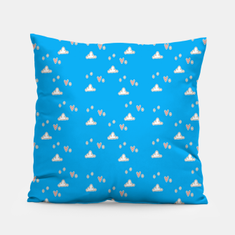 Miniatur Hearts and clouds blue Pillow, Live Heroes