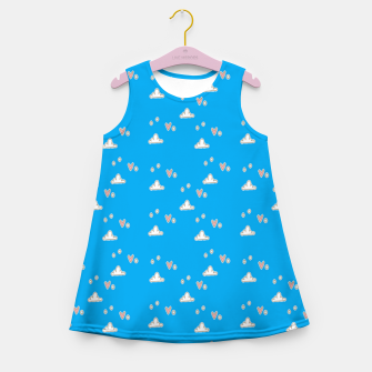 Hearts and clouds blue Girl's summer dress thumbnail image