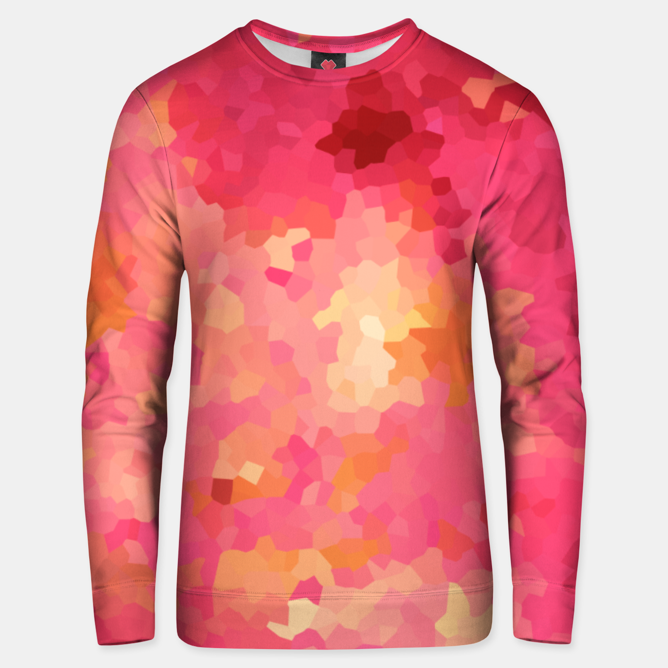 Image of Hot fuchsia poly shape, mosaic abstract background, polygon geometry in bright colors Unisex sweater - Live Heroes