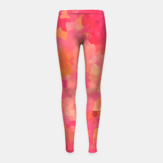 Thumbnail image of Hot fuchsia poly shape, mosaic abstract background, polygon geometry in bright colors Girl's leggings, Live Heroes