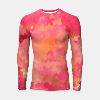 Thumbnail image of Hot fuchsia poly shape, mosaic abstract background, polygon geometry in bright colors Longsleeve rashguard , Live Heroes
